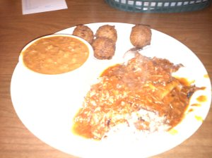 Beef and Pork Plate, with BBQ Beans and Hush Puppies