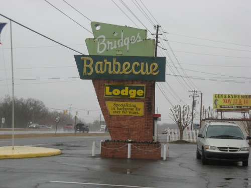 Bridges Barbecue Lodge signage